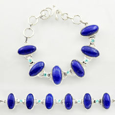 925 silver 53.26cts natural blue lapis lazuli topaz tennis bracelet r27468