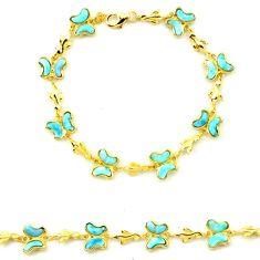 925 silver natural blue larimar 14k gold butterfly bracelet a63353 c13960