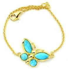 925 silver natural blue larimar 14k gold butterfly bracelet a63393 c24970