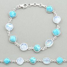 925 silver 27.52cts natural blue larimar moonstone round tennis bracelet t19452
