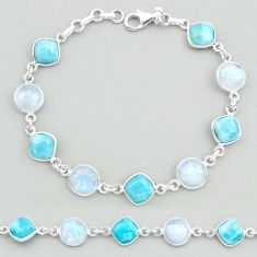 925 silver 26.03cts natural blue larimar moonstone round tennis bracelet t19709