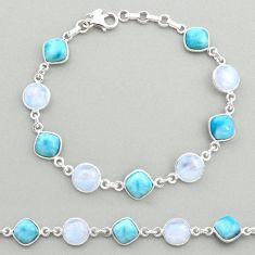 925 silver 27.69cts natural blue larimar moonstone tennis bracelet t19456