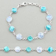 925 silver 27.69cts natural blue larimar moonstone tennis bracelet t19459