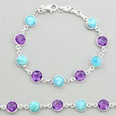 925 silver 23.04cts natural blue larimar purple amethyst tennis bracelet t19444