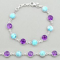 925 silver 23.72cts natural blue larimar purple amethyst tennis bracelet t19447
