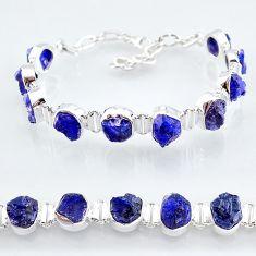 925 silver 40.71cts natural blue sapphire raw fancy tennis bracelet t7788