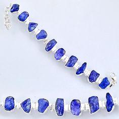 925 silver 69.20cts natural blue tanzanite rough fancy tennis bracelet r61764