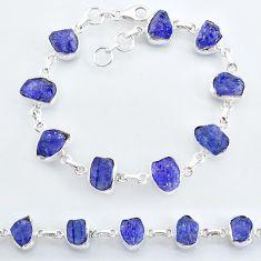925 silver 35.71cts natural blue tanzanite raw fancy tennis bracelet t7765