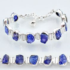 925 silver 36.72cts natural blue tanzanite raw tennis bracelet jewelry t7744