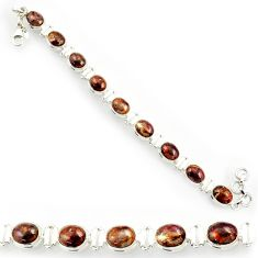 Clearance Sale- 925 silver 36.67cts natural brown pietersite (african) tennis bracelet d44309