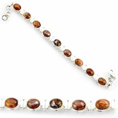 Clearance Sale- 925 silver 36.96cts natural brown pietersite (african) tennis bracelet d44313