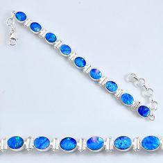 925 silver 19.53cts natural doublet opal australian tennis bracelet r60936
