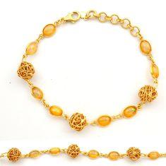 925 silver 12.30cts natural ethiopian opal 14k gold tennis bracelet r31444