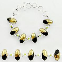 925 silver 58.96cts natural golden pyrite in magnetite tennis bracelet r27454