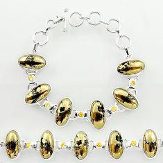 925 silver 60.86cts natural golden pyrite in magnetite tennis bracelet r27459