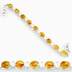 Clearance Sale- 925 silver 36.16cts natural golden tourmaline rutile oval tennis bracelet d44376