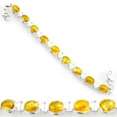 Clearance Sale- 925 silver 38.31cts natural golden tourmaline rutile oval tennis bracelet d44387