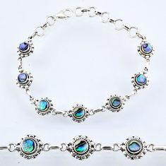 925 silver 4.74cts natural green abalone paua seashell tennis bracelet r54956