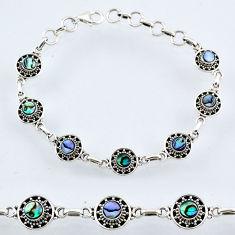 925 silver 4.74cts natural green abalone paua seashell tennis bracelet r54979