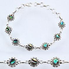 925 silver 4.83cts natural green abalone paua seashell tennis bracelet r54998