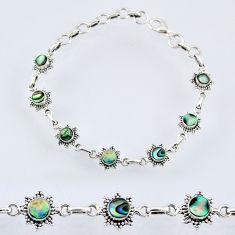 925 silver 5.38cts natural green abalone paua seashell tennis bracelet r55017