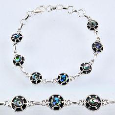 925 silver 4.96cts natural green abalone paua seashell tennis bracelet r55033