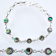 925 silver 4.95cts natural green abalone paua seashell tennis bracelet r55054
