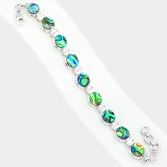 925 silver 31.71cts natural green abalone paua seashell tennis bracelet r84239