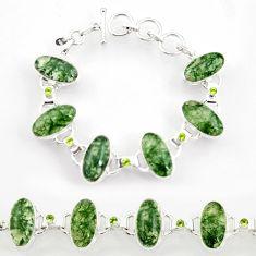 925 silver 51.70cts natural green moss agate peridot tennis bracelet d44386