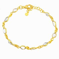 925 silver 10.32cts natural herkimer diamond 14k gold tennis bracelet r64228