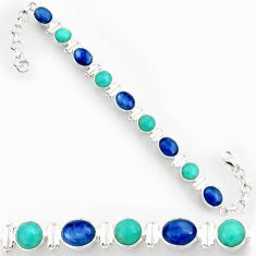 Clearance Sale- 925 silver 25.39cts natural kyanite peruvian amazonite tennis bracelet d44380