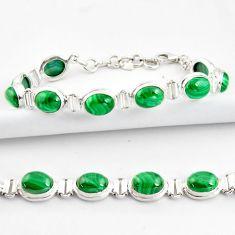 925 silver 39.48cts natural malachite (pilot's stone) tennis bracelet r39012
