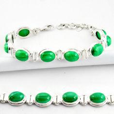 925 silver 39.91cts natural malachite (pilot's stone) tennis bracelet r39018