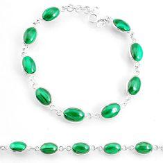 925 silver 21.30cts natural malachite (pilot's stone) tennis bracelet r74664