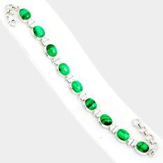 925 silver 38.70cts natural malachite (pilot's stone) tennis bracelet r84268