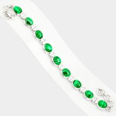 925 silver 39.50cts natural malachite (pilot's stone) tennis bracelet r84279