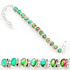 925 silver 21.22cts natural multi color ethiopian opal tennis bracelet r27525