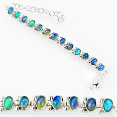 925 silver 21.72cts natural multi color ethiopian opal tennis bracelet r27530