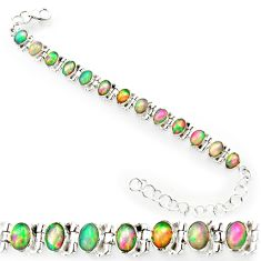 925 silver 20.84cts natural multi color ethiopian opal tennis bracelet r27533
