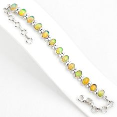925 silver 20.57cts natural multi color ethiopian opal tennis bracelet r75264