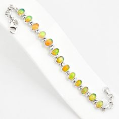 925 silver 19.04cts natural multi color ethiopian opal tennis bracelet r75268