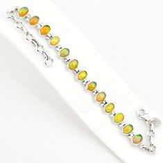 925 silver 19.89cts natural multi color ethiopian opal tennis bracelet r75270