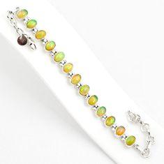 925 silver 20.21cts natural multi color ethiopian opal tennis bracelet r75276