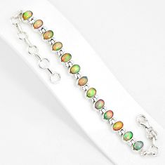 925 silver 21.04cts natural multi color ethiopian opal tennis bracelet r76229