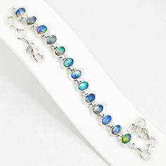 925 silver 21.04cts natural multi color ethiopian opal tennis bracelet r76236