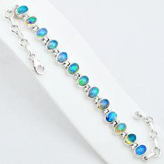 925 silver 18.63cts natural multi color ethiopian opal tennis bracelet t5895