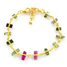 925 silver 13.55cts natural multi color tourmaline 14k gold bracelet r38771