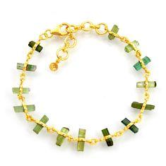 925 silver 13.41cts natural multi color tourmaline 14k gold bracelet r38774