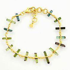 925 silver 12.39cts natural multi color tourmaline 14k gold bracelet r38779