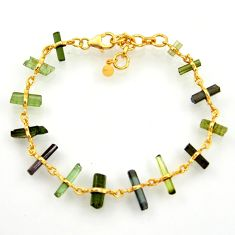 925 silver 16.54cts natural multi color tourmaline fancy tennis bracelet r33263